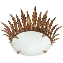 Gilt Iron Crown Sunburst Ceiling Light Fixture Neoclassical Style, Spain, 1940s