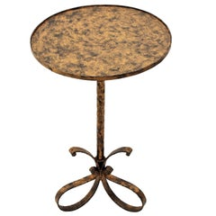 Gilt Iron Drinks Table with Loop Tripod Base