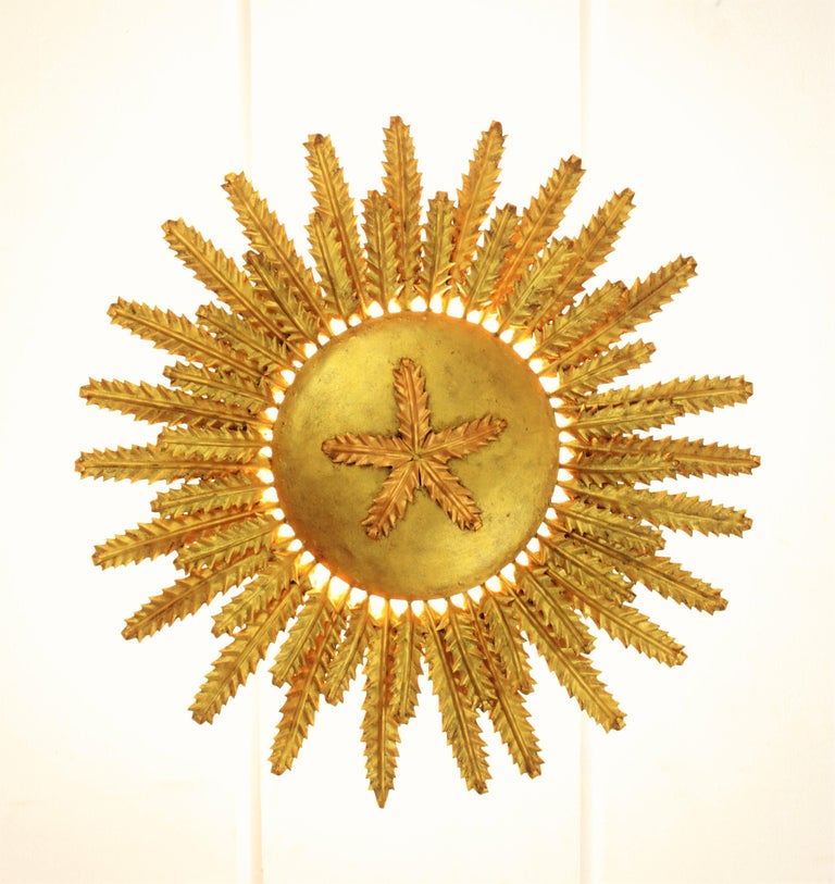 20th Century Gilt Iron Floral Sunburst Ceiling Flush Mount or Wall Light, Spain, 1950s For Sale