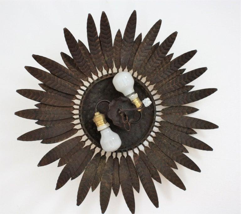 Spanish 1960s Gilt Iron Flower Burst Sunburst Flush Mount / Wall Light For Sale 5