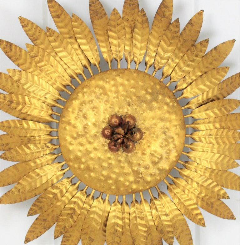 Hollywood Regency Spanish 1960s Gilt Iron Flower Burst Sunburst Flush Mount / Wall Light For Sale