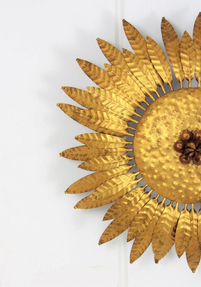 Mid-20th Century Spanish 1960s Gilt Iron Flower Burst Sunburst Flush Mount / Wall Light For Sale