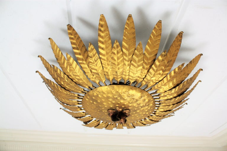 Mid-20th Century Gilt Iron Flower Burst Sunburst Ceiling Flush Mount or Wall Light, Spain, 1960s For Sale