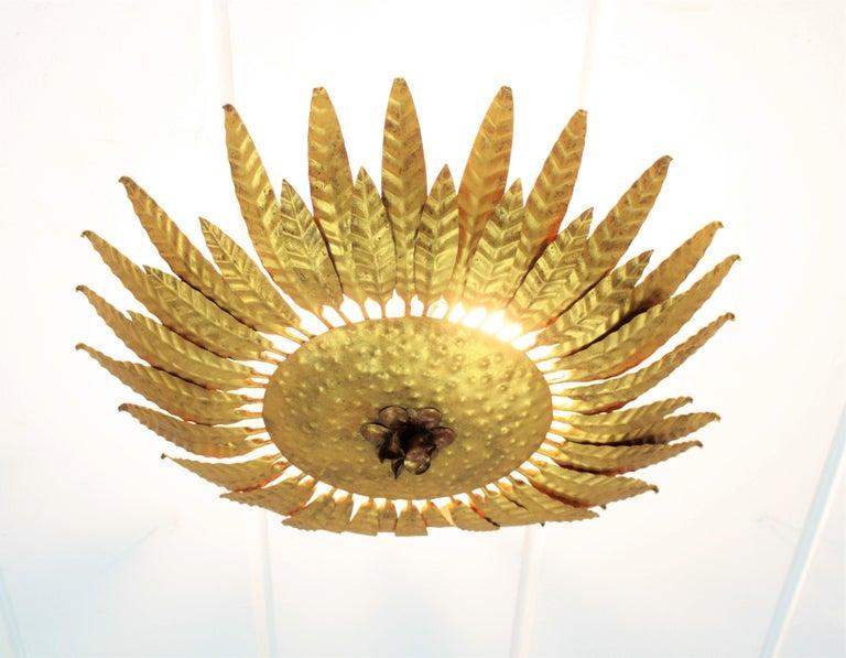 Gilt Iron Flower Burst Sunburst Ceiling Flush Mount or Wall Light, Spain, 1960s For Sale 1