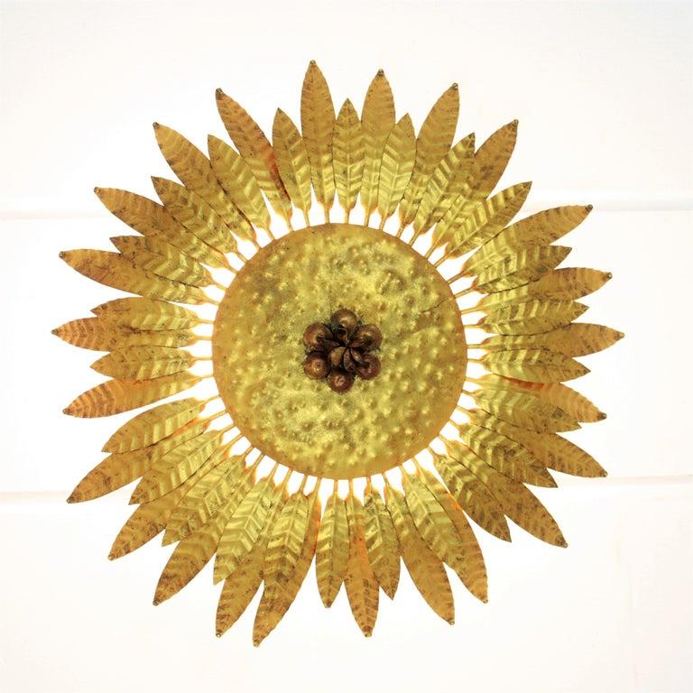 Spanish 1960s Gilt Iron Flower Burst Sunburst Flush Mount / Wall Light For Sale 3