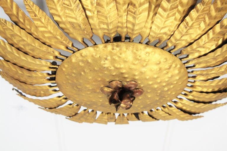 Gilt Iron Flower Burst Sunburst Ceiling Flush Mount or Wall Light, Spain, 1960s For Sale 3