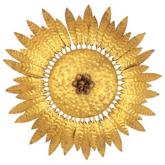 Gilt Iron Flower Burst Sunburst Ceiling Flush Mount or Wall Light, Spain, 1960s