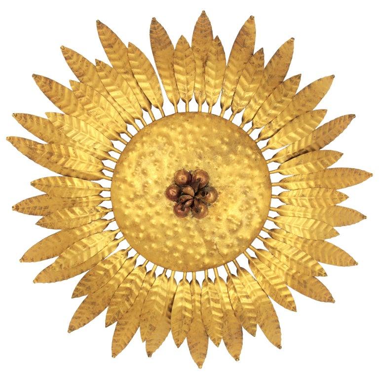 Gilt Iron Flower Burst Sunburst Ceiling Flush Mount or Wall Light, Spain, 1960s For Sale