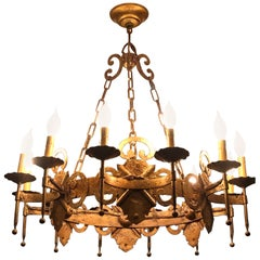 Gilt Iron Gothic Hollywood Regency Tole Chandelier