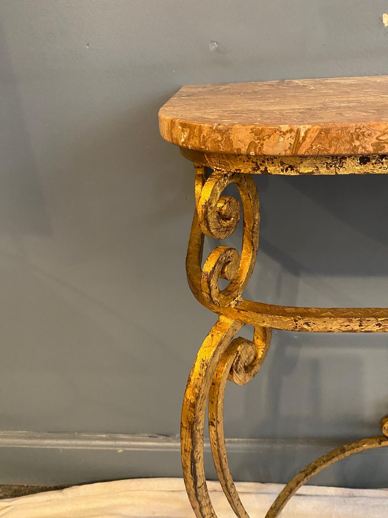 Hollywood Regency Gilt Iron Italian Console and Mirror For Sale