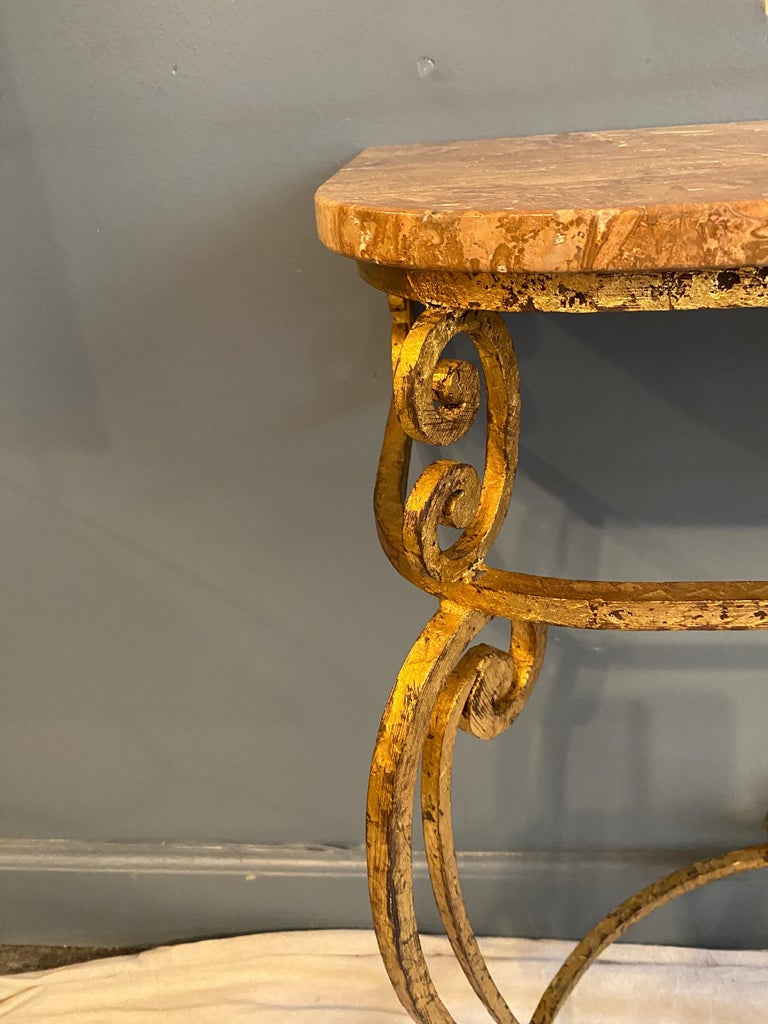Gilt Iron Italian Console and Mirror In Good Condition For Sale In Philadelphia, PA