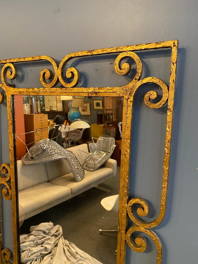 Gilt Iron Italian Console and Mirror For Sale 3