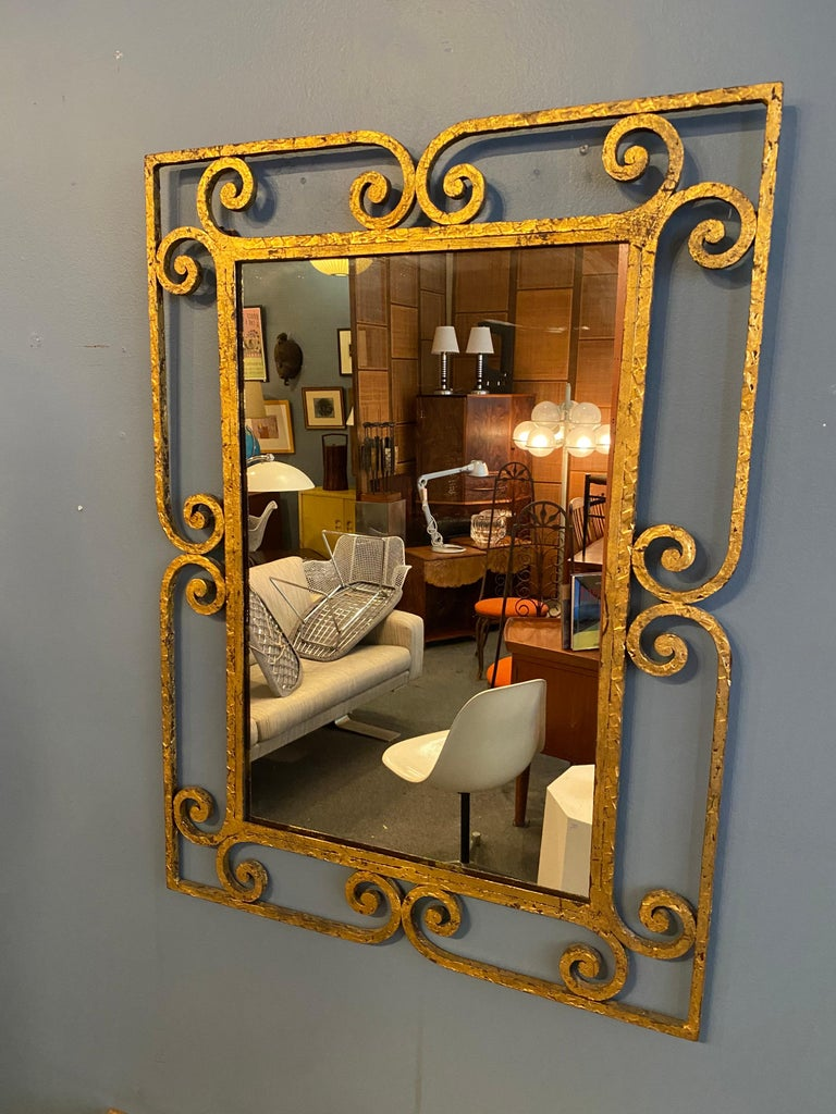 Gilt Iron Italian Console and Mirror For Sale 4