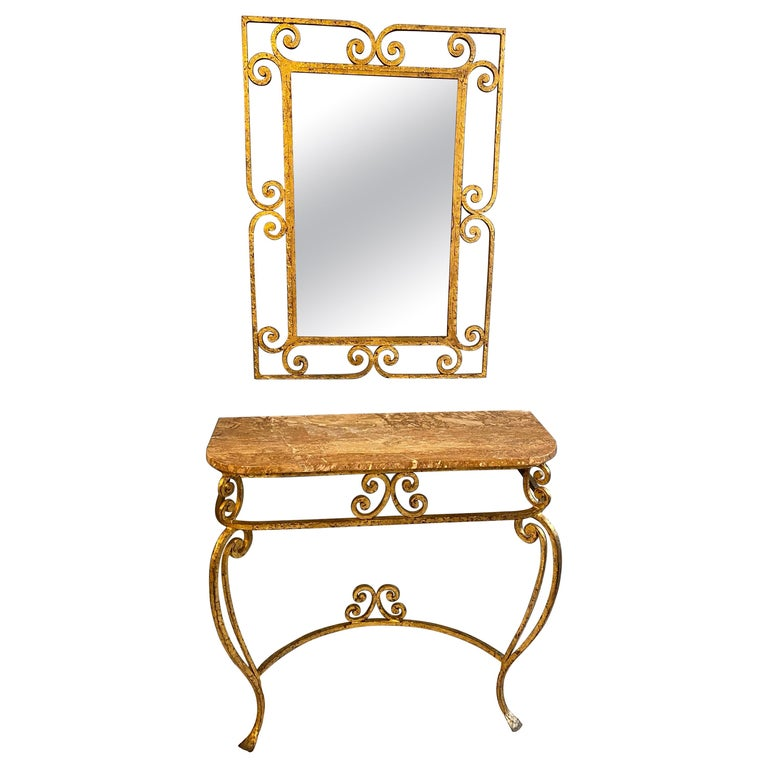 Gilt Iron Italian Console and Mirror For Sale