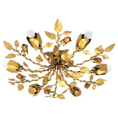 Gilt Iron Rosebush Tree Ceiling Light Fixture or Chandelier, Spain, 1960s