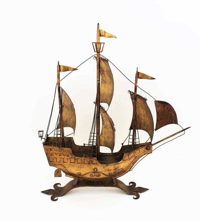 Gilt Iron Spanish Galleon / Sailing Ship Sculpture in the Style of Poillerat For Sale 4