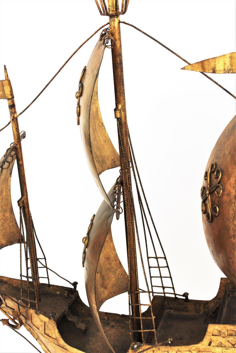 Gilt Iron Spanish Galleon / Sailing Ship Sculpture in the Style of Poillerat For Sale 5