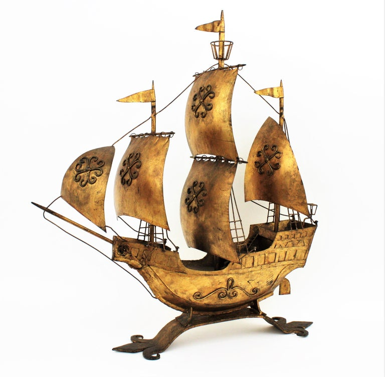 Mid-Century Modern Gilt Iron Spanish Galleon / Sailing Ship Sculpture in the Style of Poillerat For Sale