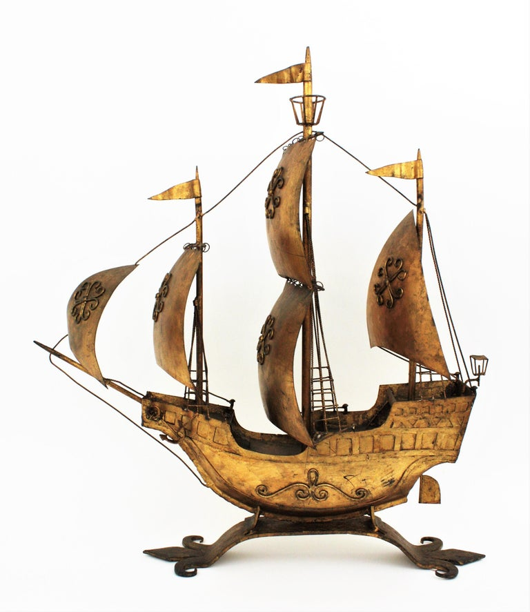 Gilt Iron Spanish Galleon / Sailing Ship Sculpture in the Style of Poillerat In Excellent Condition For Sale In Barcelona, ES