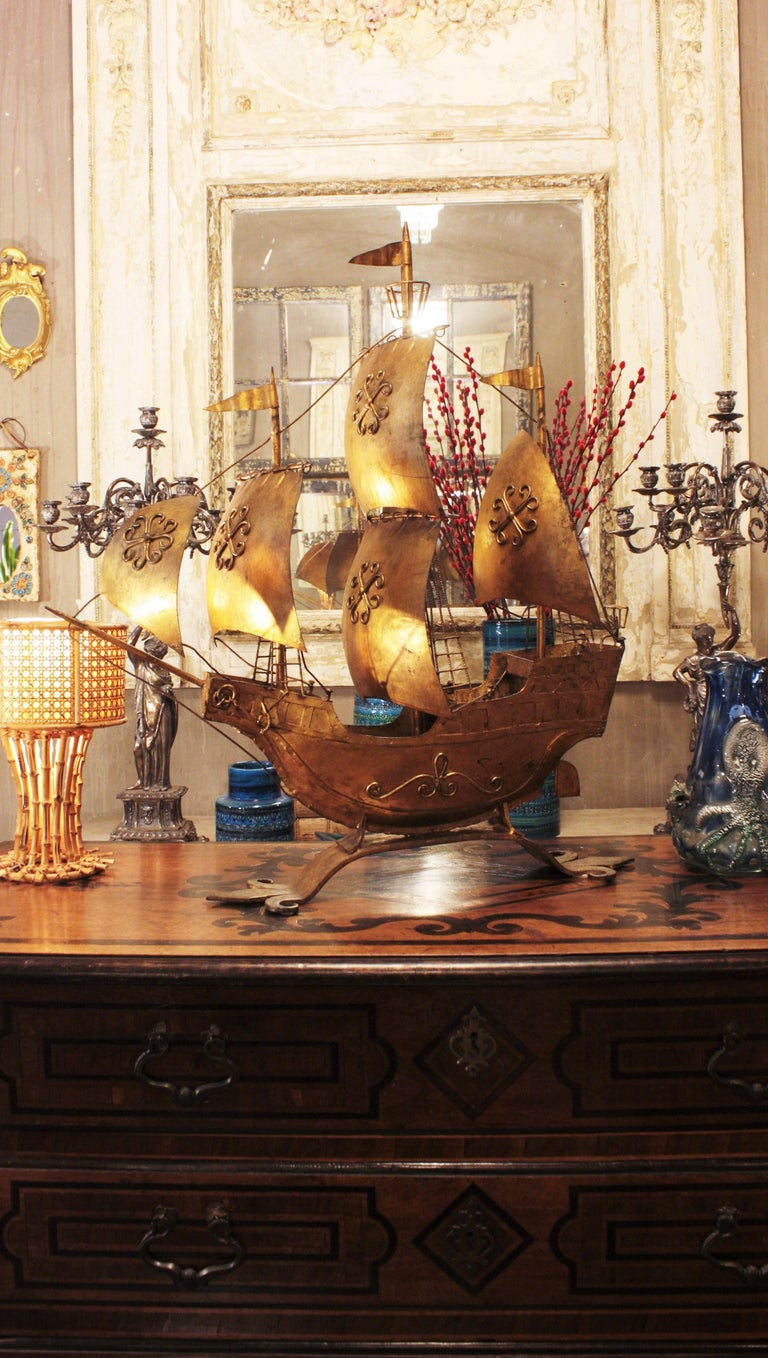 20th Century Gilt Iron Spanish Galleon / Sailing Ship Sculpture in the Style of Poillerat For Sale