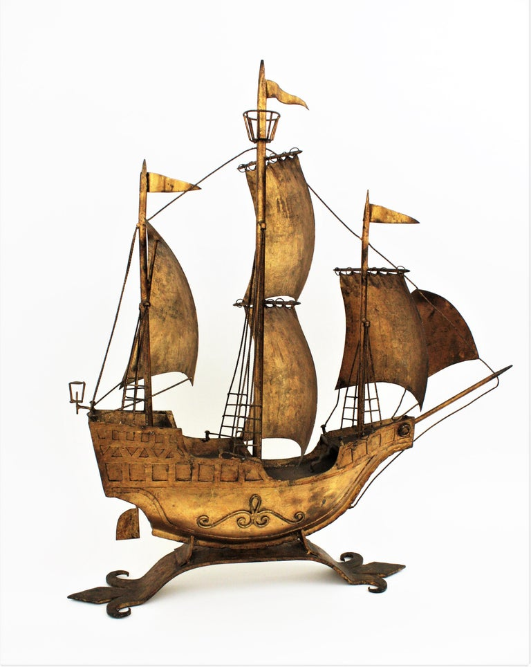 Metal Gilt Iron Spanish Galleon / Sailing Ship Sculpture in the Style of Poillerat For Sale