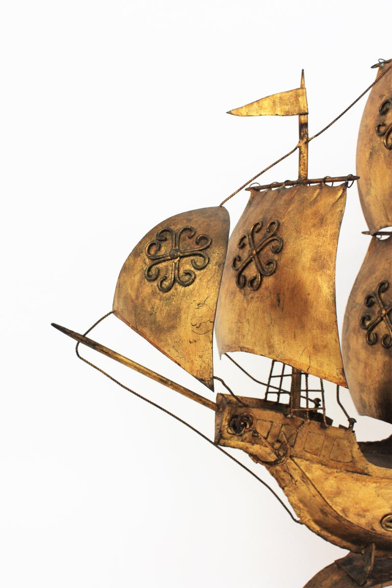 Gilt Iron Spanish Galleon / Sailing Ship Sculpture in the Style of Poillerat For Sale 1
