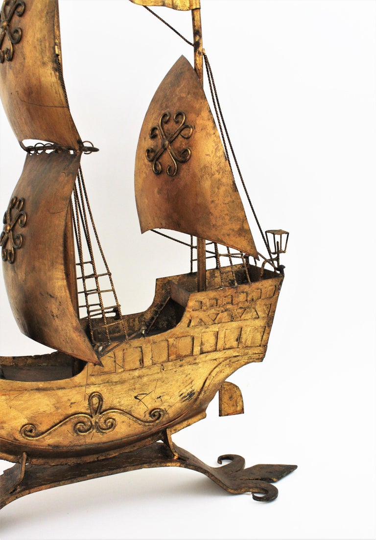 Gilt Iron Spanish Galleon / Sailing Ship Sculpture in the Style of Poillerat For Sale 2