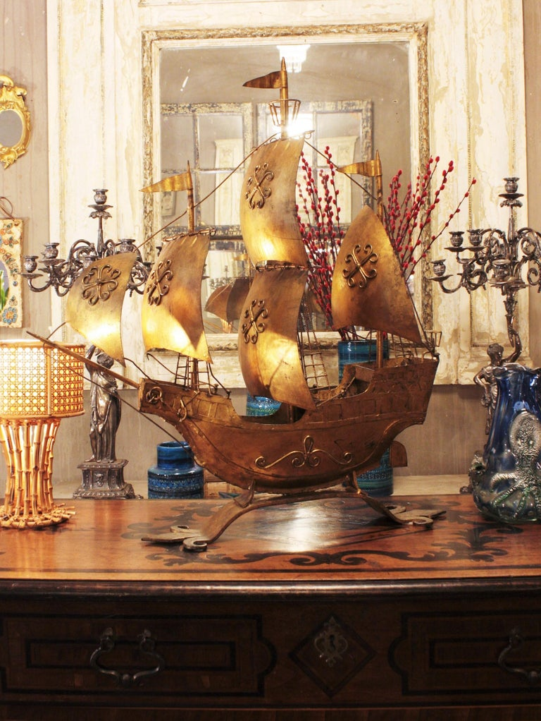 Gilt Iron Spanish Galleon / Sailing Ship Sculpture in the Style of Poillerat For Sale 3