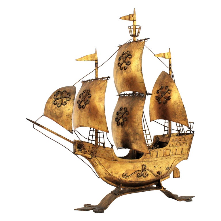 Gilt Iron Spanish Galleon / Sailing Ship Sculpture in the Style of Poillerat For Sale