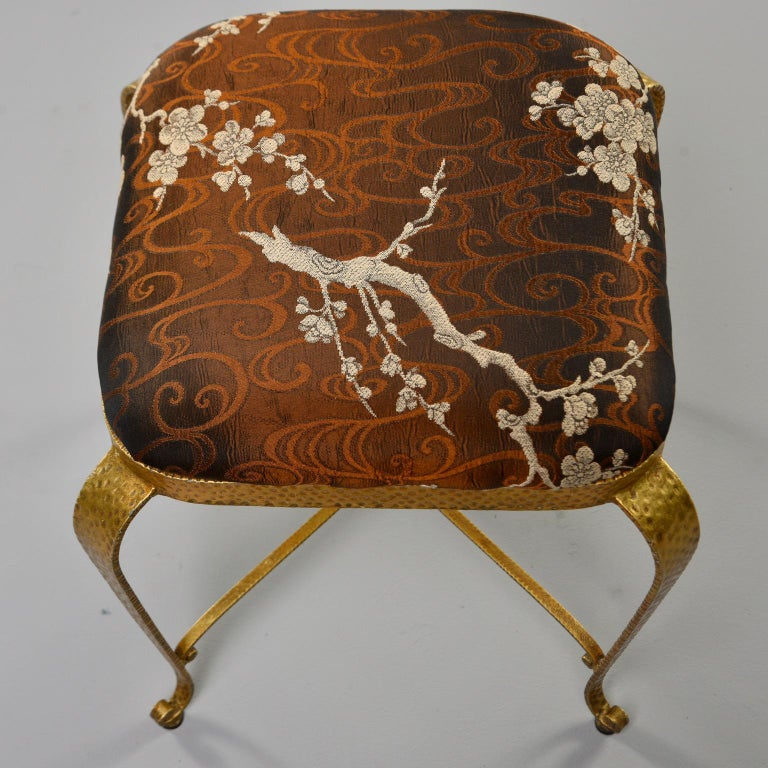 Gilt Iron Stool in the Style of Pier Luigi Colli In Good Condition In Troy, MI