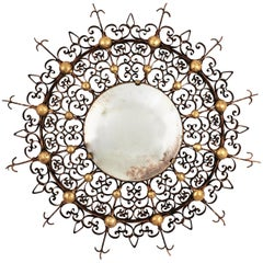 Sunburst Backlit Convex Mirror in Gilt Iron with Scrollwork Filigree Frame