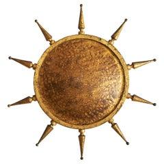 Gilt Iron Sunburst Flush Ceiling Light