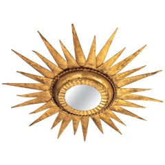 Sunburst Starburst Flush Mount Light Fixture in Gilt Metal