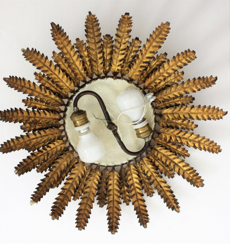 Gilt Iron Sunflower Sunburst Ceiling Light Fixture or Wall Sconce, Spain, 1950s For Sale 6