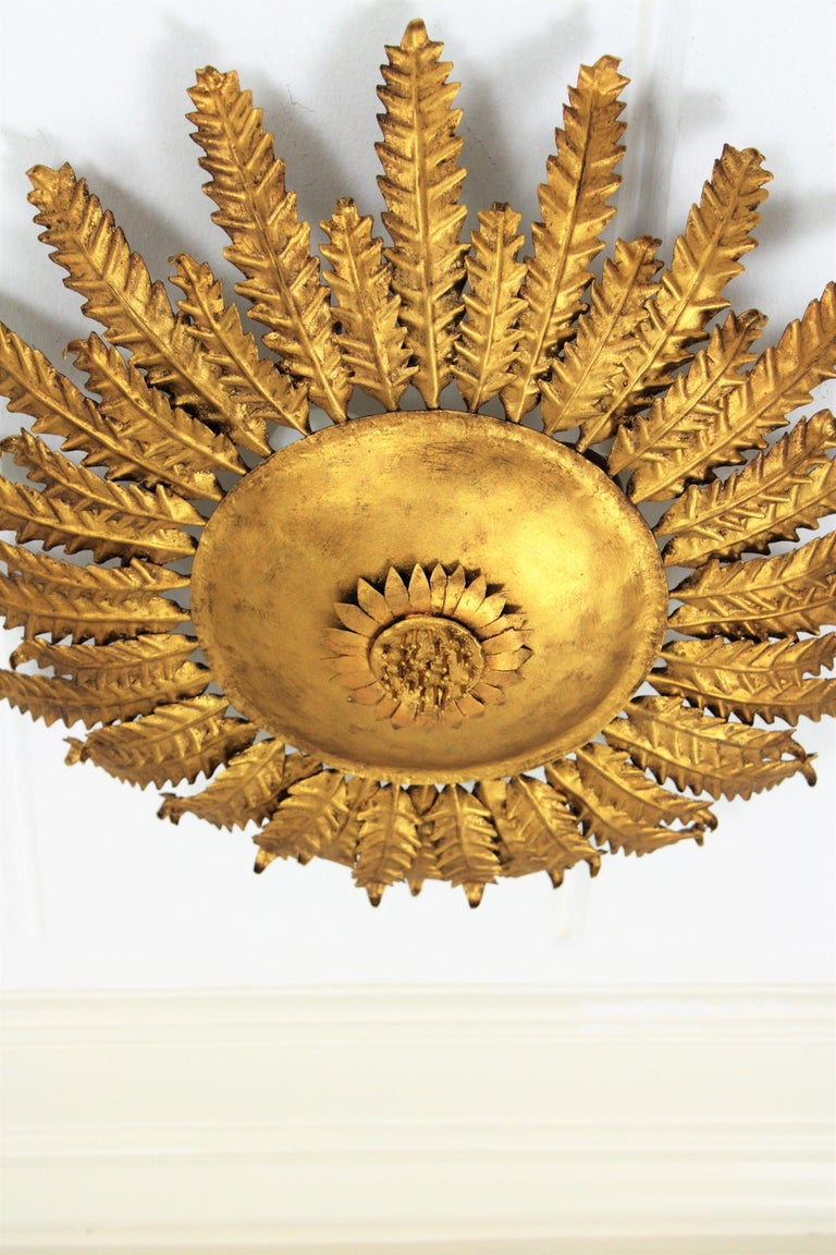Gilt Iron Sunflower Sunburst Ceiling Light Fixture or Wall Sconce, Spain, 1950s In Excellent Condition For Sale In Barcelona, ES