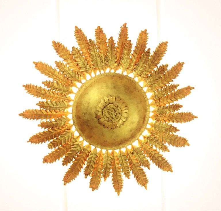 20th Century Gilt Iron Sunflower Sunburst Ceiling Light Fixture or Wall Sconce, Spain, 1950s For Sale