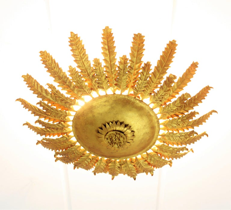 Gold Leaf Gilt Iron Sunflower Sunburst Ceiling Light Fixture or Wall Sconce, Spain, 1950s For Sale