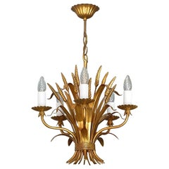 Gilt Italian Floral Sheaf of Wheat Five-Light Chandelier Coco Chanel Style, Kögl