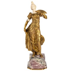 Gilt, Ivory and Marble Bronze Sculpture, Napoleon III Period, 1870-1880, Signed