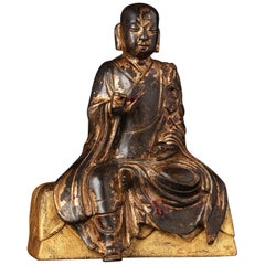 Gilt Lacquer Bronze China Song Dynasty Seated Ksitigarbha Bodhisattva