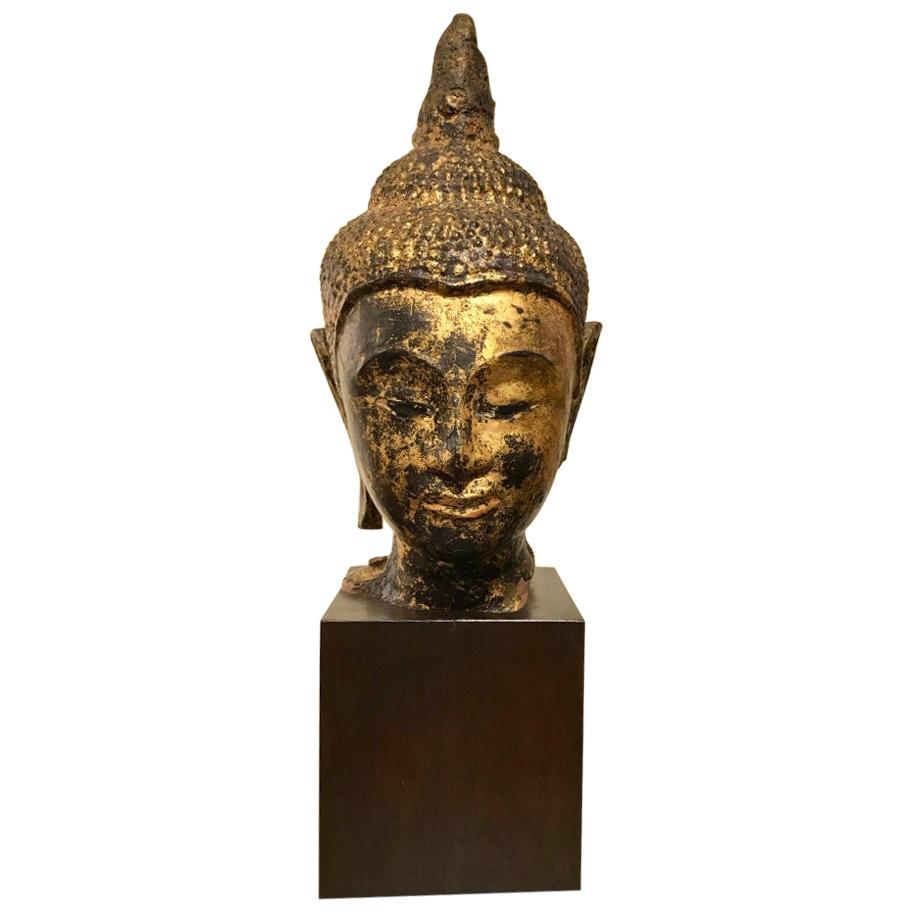 Gilt Lacquer Thai Head of Buddha