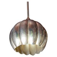 Gilt Lotus Form Pendant Chandelier