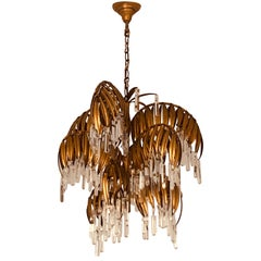 Gilt Metal, 9-Light Palm Tree Chandelier Attributed to Hans Kögl, circa 1970s