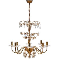 Gilt Metal and Crystal Palwa Chandelier, 1970s, Germany