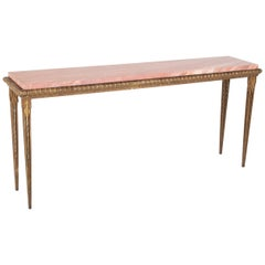 Gilt Metal and Marble Console Table in the Manner of Gilbert Poillerat