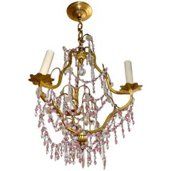 Gilt Metal and Pink Bead Chandelier