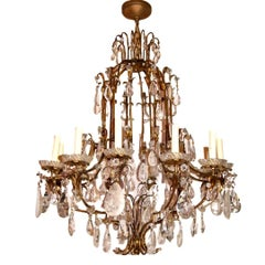 Gilt Metal and Rock Crystal Chandelier