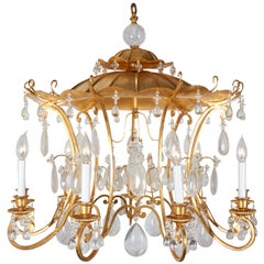 Gilt Metal and Rock Crystal Chandelier in the Manner of Maison Bagues