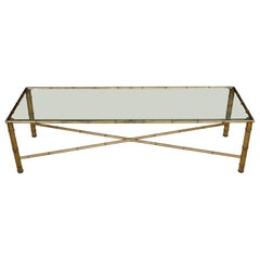 Gilt Metal Bamboo Long Rectangular Glass Top Coffee Table with X-Stretcher