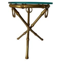 Gilt Metal Bamboo Tripod Round Glass Top Side Table